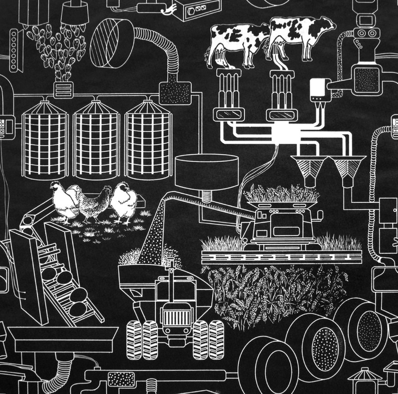 "Woodcut, 34""x34"", 2018"