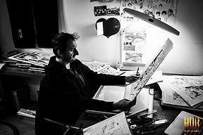 Dans l'atelier de HUB dessinateur de Bande dessinée
