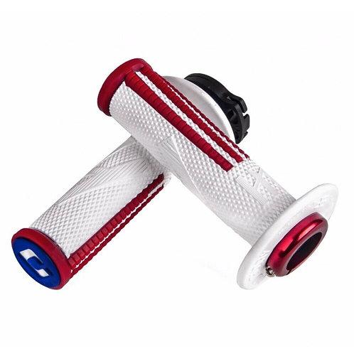 ODI HALF WAFFLE V2 EMIG PRO LOCK ON GRIPS - WHITE RED