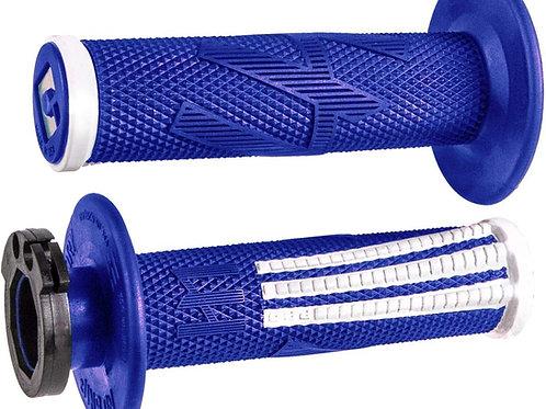 ODI HALF WAFFLE V2 EMIG PRO LOCK ON GRIPS - BLUE WHITE