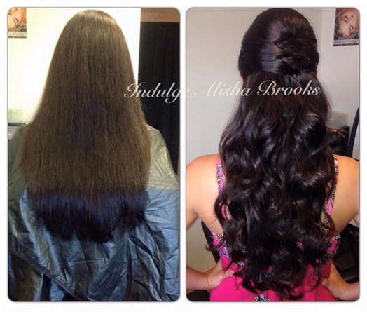 Fusion Hair Extensions, Heat Style with Half Updo, Spraytan, and Lashes (not shown here)