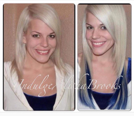 Blue Fantasy Strands added to Platinum Blonde set of Hair Extensions