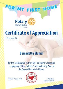 Zahvalnica Bernadette Blumel