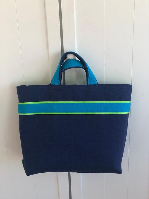 "Grand Sac Cabas porté main ""Bleu Marine & Turquoise"""