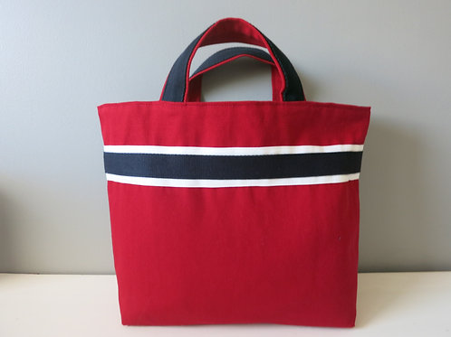 "Grand Sac Cabas porté main ""Rouge & Marine"""