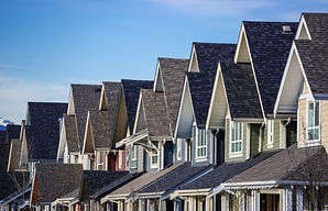 Row of modern townhouses in Vancouver, C