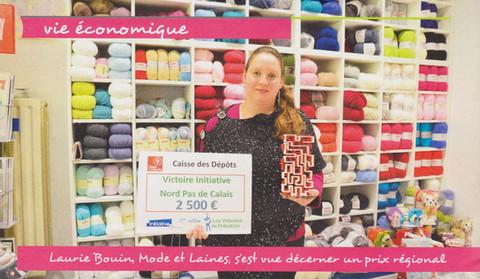 Laurie Bouin, Mode et Laines s'est vue décerner un prix régional