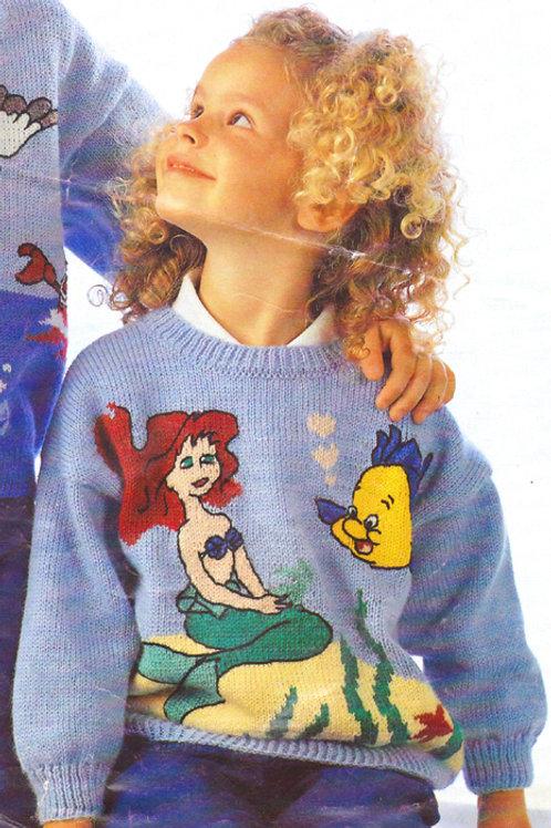 Explication Pull Tricot Disney Ariel et Polochon La Petite Sirène