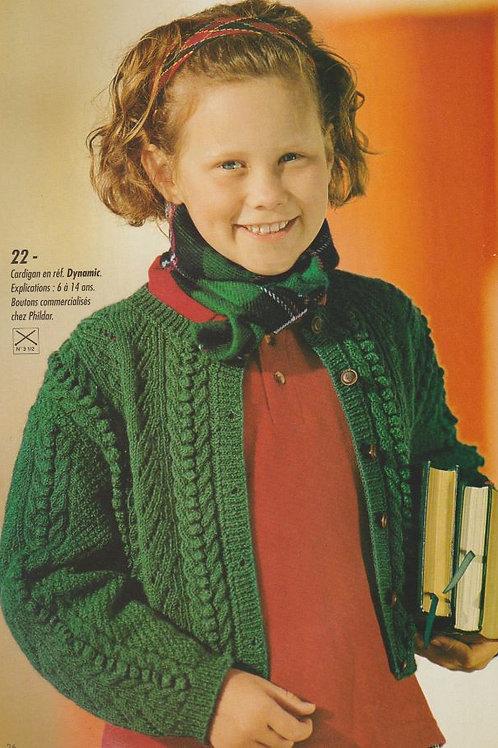 Explication tricot gilet irlandais cardigan pour enfants