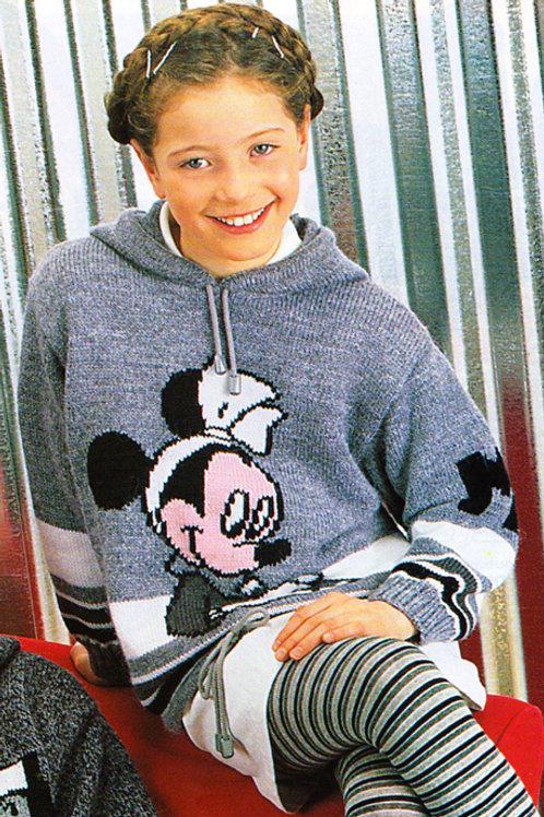 Explication Pull à capuche Tricot Disney Minnie écrit