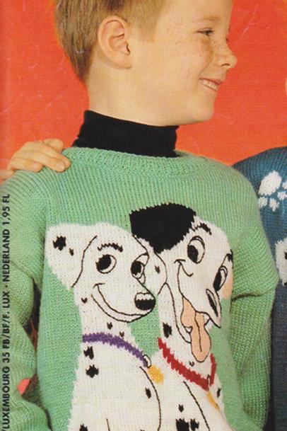 Explication Pull Tricot Disney Pongo et Perdita Les 101 dalmatiens