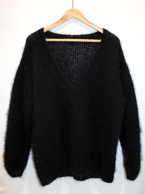 Pull laine Mohair oversize en col V