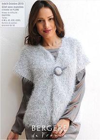 gilet manche courte tricot facile plume bergère de france