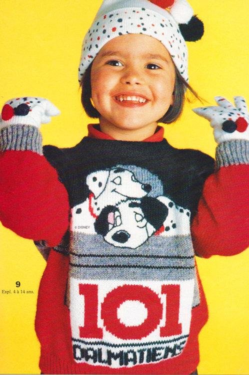 Explication Pull Tricot Disney Les 101 Dalmatiens La Sieste de Pongo et Perdita