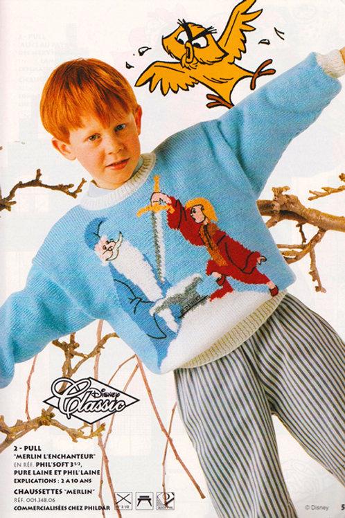 Explication Pull Tricot Disney Merlin l'enchanteur et Arthur