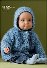 paletot à capuche tricot bébé layette