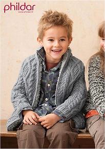 Veste manteau irlandais enfant torsades phildar