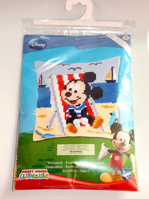 Coussin Canevas Disney Mickey à la plage