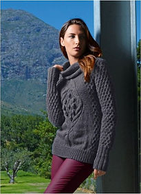 pull femme tricot point irlandais