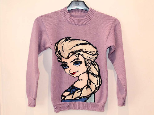Pull Jacquard Enfant Elsa Disney La Reine des Neiges