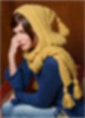 écharpe capuche femme point irlandais torsade