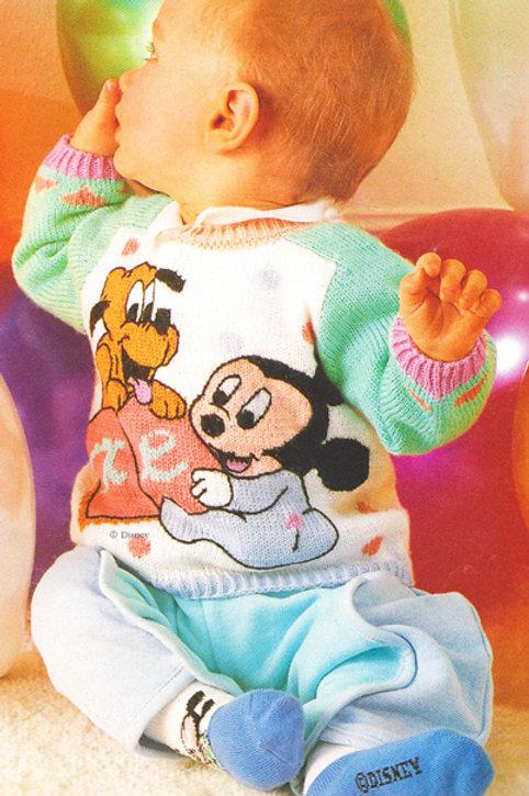 Explication Pull Tricot Disney Bébé Mickey et Bébé Pluto