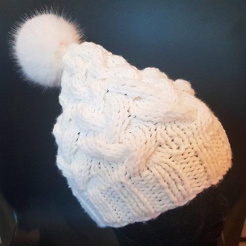 Bonnet torsades Pompon pour femmes