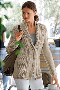 veste femme col châle point irlandais