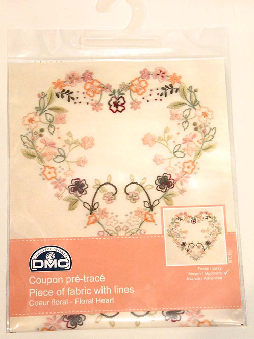 Cadre broderie traditionnelle Coeur et fleurs DMC