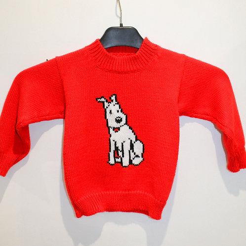 Pull en laine tricot enfant Milou Tintin