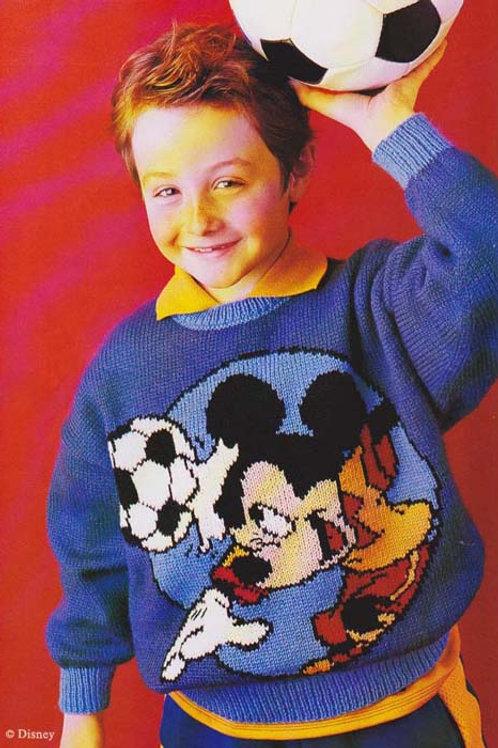 Explication Pull Tricot Disney Mickey joue au foot