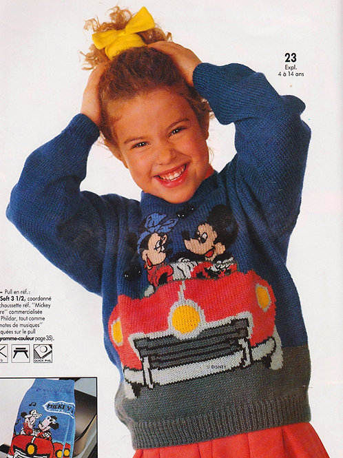 Explication Pull Tricot Disney Mickey Minnie en Voiture