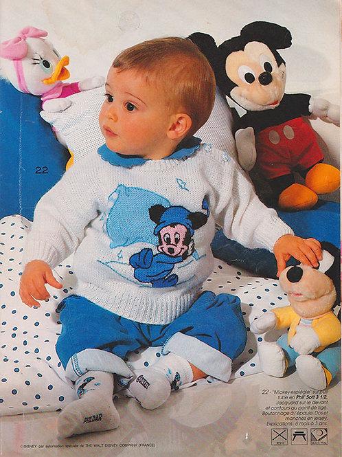 Explication Pull Tricot Bébé Disney Mickey et son oreiller