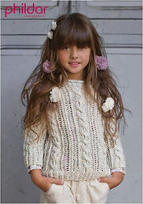 pull enfant fille tricot torsade point ajouré été coton phildar