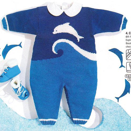 Explications combinaison jacquard dauphin pour bébé