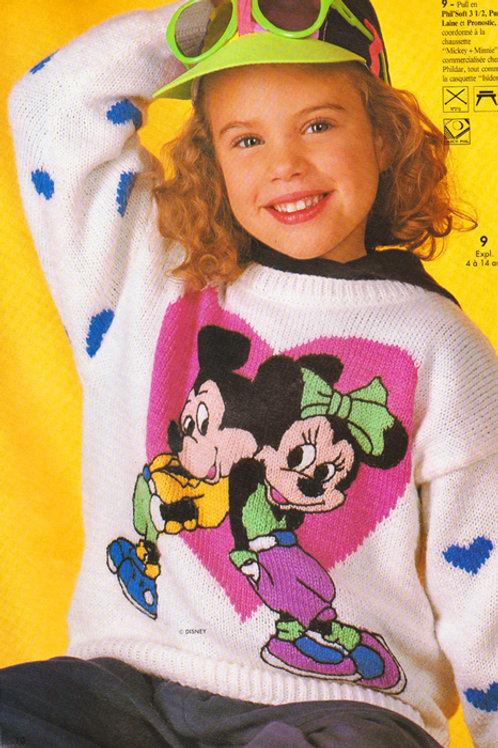 Explication Pull Tricot Disney Mickey et Minnie Coeur