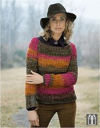 Pull femme tricot côtes col bateau laine katia