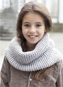 tour de cou tricot enfant point mousse snood