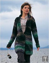 Veste longue tricot grosse laine katia manteau femme gilet long jersey