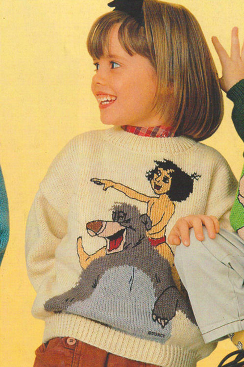 Explication Pull Tricot Disney Mowgli et Baloo Le Livre de La Jungle