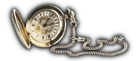 gold khronos pocket watch with gauntlet attached