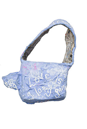 RAMP TRAMP TRAMP STAMP PAPIER MACHE HANDBAG #2 'LOVE IS A LOSING GAME'