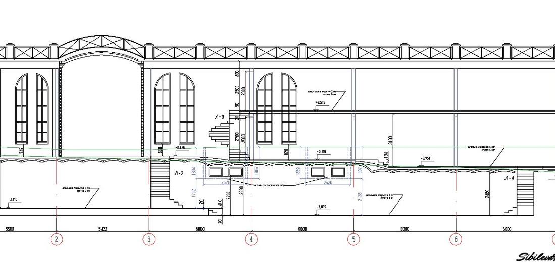 Разрез проектируемого здания