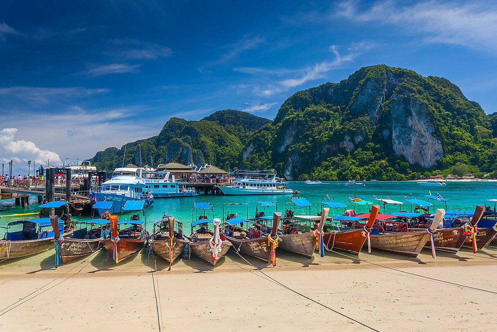 Boats Docked on Phi Phi Island PHUKET