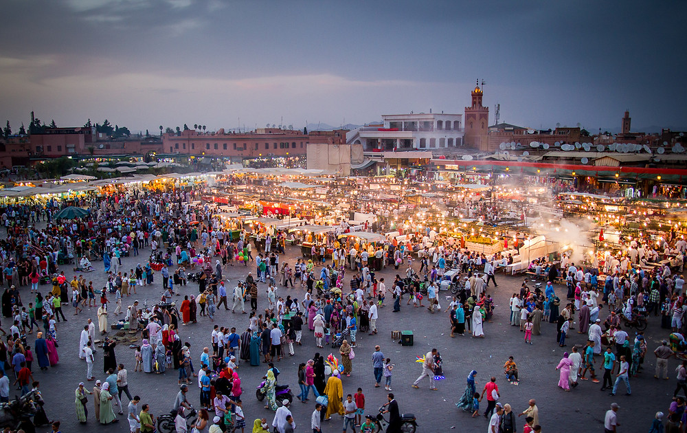 Tourists in Marrakech, Morocco