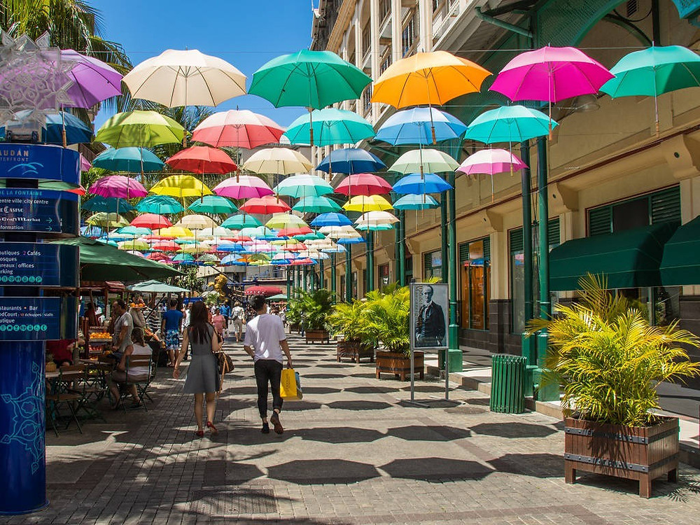 Umbrellas street in Port Louis