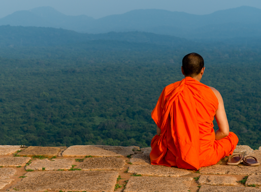Photo of the week – Budhist monk meditating at Lion's Rock summit – Sigiriya Sri l