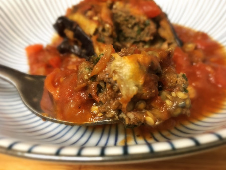 Stuffed Eggplant in Tomato & Bell Red Pepper Sauce