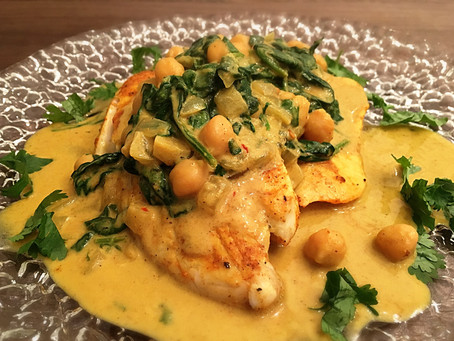 Coconut Curry Stew over Baked Tilapia