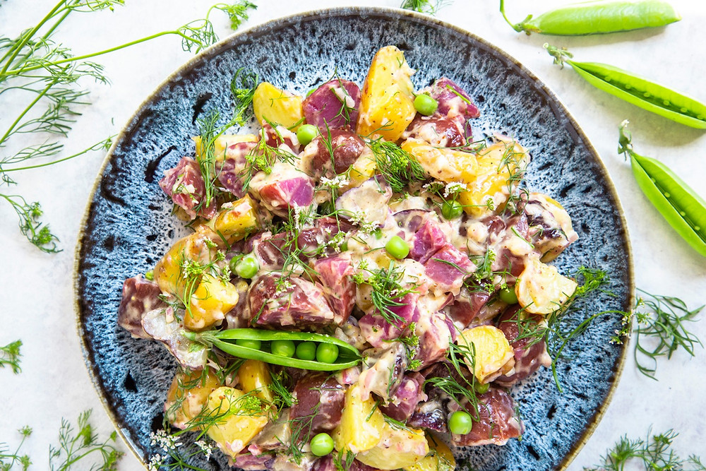 Tricolor Fingerling Potato Salad with Delfino Cilantro and Shelled Peas